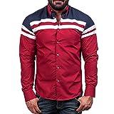 Herren Hemd,Sannysis Männer Shirt Bluse Casual Langarm T-Shirt (2XL, Rot)