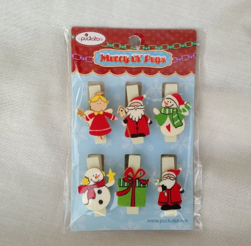 Christmas card Holders - Novità Natale peg set - Confezione da 6 mollette (XPEG03)