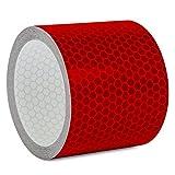 Motoking Reflektorband mit Wabenmuster für mehr Schutz & Sicherheit in der Dunkelheit - Länge und Farbe wählbar - 3m Meter lang, 5cm breit - Rot