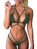 Beach Push-up-Top,Chicolife Damen Bandage Bikini Satz Push-up Gepolstert Halter Bandeau Einfarbig Badeanzug Baden Strand Badebekleidung