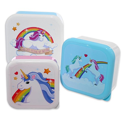 Einhorn Vesperdosen 3er Set aus Kunststoff / Rainbows & Unicorns Lunchboxen in 3 verschiedenen Größen