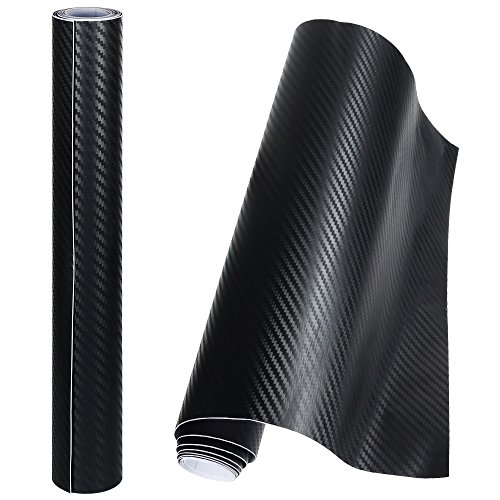 Anpro 2PCS 3D Film Autocollant Adhésif Vinyle En Fibre de Carbone Chaque Rouleau de 1.52m x 0.3m Pour Voiture,Ordinateur,Coque de Smartphone,Moto,Véhicule-Noir