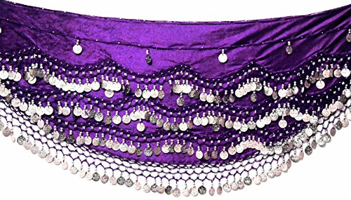 SAMT-Bauchtanz Hüftschal mit Münze und Perlen, für Größen S/M / L/XL bis 4XL, Übergröße (UK 8-24), lila, Silber, S to M UK 8-12