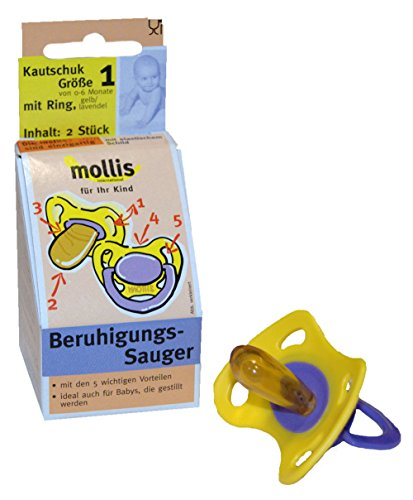 Preisvergleich Produktbild Mollis Kautschuk-Schnuller Gr. 1 mit Ring 2 Stk
