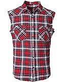SOOPO Herren Ärmellose Kariert Flanell Hemden Freizeithemd aus Baumwolle Sleeveless T-Shirt(rot&schwarz,L)