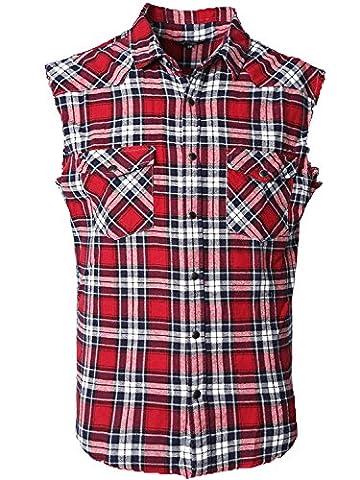 SOOPO Herren Ärmellose Kariert Flanell Hemden Freizeithemd aus Baumwolle Sleeveless T-Shirt (XL, rot&schwarz)