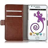 JAMMYLIZARD | Cover custodia Luxury Wallet a Libro in Pelle per Samsung Galaxy S2, MARRONE