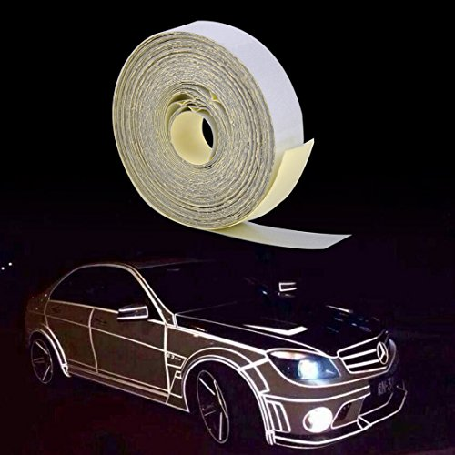 beler Weiß 5m x 1cm Universal Auto LKW Motorrad Reflektierende Selbstklebende Reflektor Streifen Aufkleber Reflexfolie Reflektorband