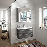 ALLIBERT Badmöbel-Set Badmöbel vormontiert Softclose-Funktion Eiche grau Waschtisch Spiegel 80 cm Badezimmer