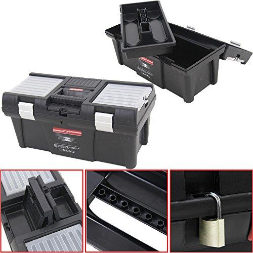 """Kunststoff Werkzeugkoffer STUFF Semi Profi Alu 20"""", 52,5x25,5cm Kasten Werzeugkiste Sortimentskasten Werkzeugkasten Anglerkoffer"""