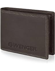 Wenger Herren-Geldbörse Querformat Leder 12,5 cm mit Klappfach und Reißverschlussfach