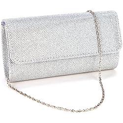 Clorislove Glitter Damen Tasche Clutch Bag Handtasche Party Hochzeit Abendtasche Kettentasche (Silber)
