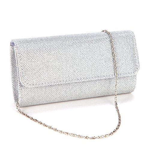 Clorislove Glitter Damen Tasche Clutch Bag Handtasche Party Hochzeit Abendtasche Kettentasche (Silber) (Clutch Tasche)