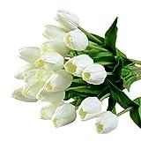 Soledi 10 Piezas Tulipán Flores Artificiales Material de PU decoración del Hogar/ Boda/ Ceremonias/ Navidad Colore Blanco