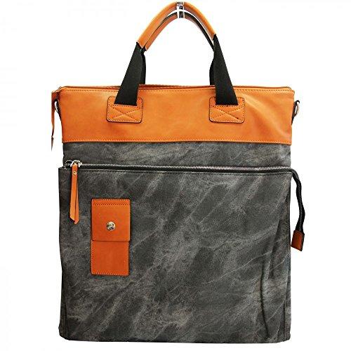 Shopping-et-Mode - Grand sac à main rectangulaire noir et camel original effet jean et toucher peau de pêche - Noir, Simili-cuir
