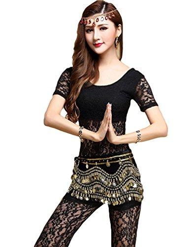 YiJee Damen Bauchtanz Set Kurzarm Spitzen Belly Dancing Komfortable Tanzen Kostüme Set Schwarz (Bauchtänzerin Billig Kostüme)