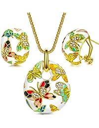 Pauline & Morgen Primavera Versalles Juegos de joyas Mujer Mariposa del esmalte