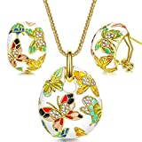 P&M Versailles Spring Enamel Butterfly Gold Plated Crystal Women Jewellery Set Necklace Earrings
