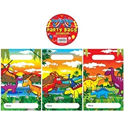 12 Dinosaur Design Childrens Party Bags / Kids Fillers Gifts Favours Toys Sweets by Party Accessories