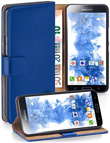 moex Booklet mit Flip Funktion [360 Grad Voll-Schutz] für Samsung Galaxy S5 Mini | Geldfach und Kartenfach + Stand-Funktion und Magnet-Verschluss, Dunkel-Blau
