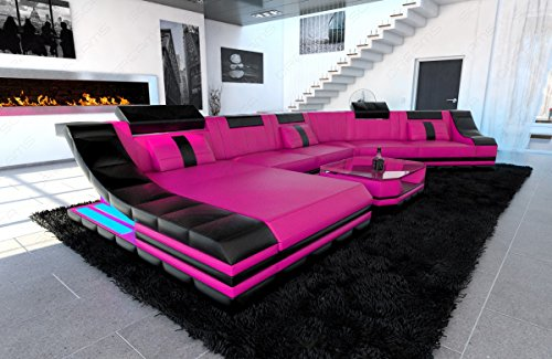 Mega Designer Leder Wohnlandschaft TURINO CL XL-Form pink-schwarz - 2