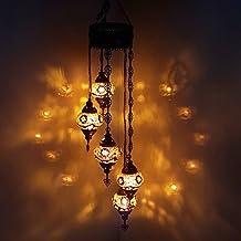 Turque Marocain Style Tiffany Mosaïque De Verre Chandelier 5 Ampoule - G5 X 5 Chandelier