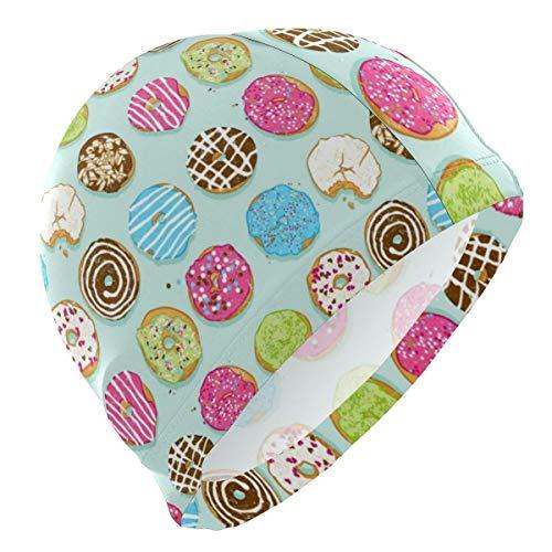 SFHJK Swim Caps Badekappe Lycra Swim Cap Sweet Donuts Swimming Bathing Cap for Women Men