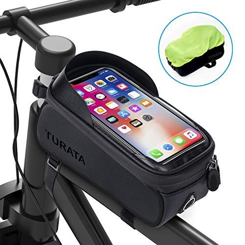 TURATA Bolsas de Bicicleta, Bolsa Impermeable para Bicicleta, Bolsa Táctil de Tubo...