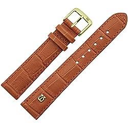 Uhrenarmband 22mm Leder braun matt Prägung, Alligator - MADE IN GERMANY - Uhrband mit Marburger Logo, in matter Farbe & Alligatoroptik - Marburger Uhrenarmbänder seit 1945 - matt goldbraun / gold