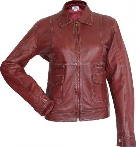 Damen Lederjacke Trend Fashion echtleder Jacke aus Lamm Nappa Leder rot, Größe:46