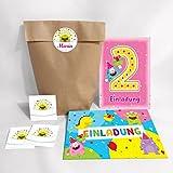 12-er Set Einladungskarten, Umschläge, Tüten, Aufkleber zum 2. Kindergeburtstag rosa für Mädchen