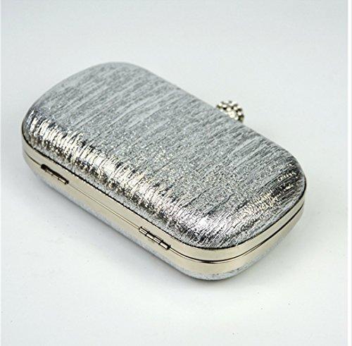 Frau Mini Glitter Covered Stoff Hard Case Alloy Kette Riemen Mode-Handtasche Clutch Black
