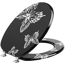 Saniplast Asiento para inodoro de madera con mariposas, Blanco/Negro, 45x 37x 5cm
