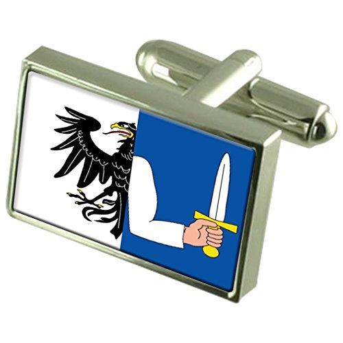 Select Gifts Le Connacht Sterling Silver Flag de manchette en boîte personnalisée gravée