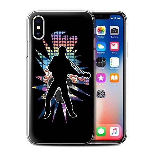 Stuff4 Gel TPU Hülle / Case für Apple iPhone X/10 / Gefühl/Emotion Weiß Muster / Rock Star Pose Kollektion Elvis Schwarz