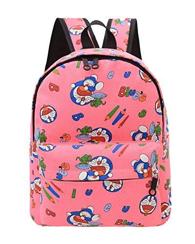 SaiDeng Femme Preppy Style Sac À Dos Canevas Cartable Imprimé Décontracté Sacs Pink