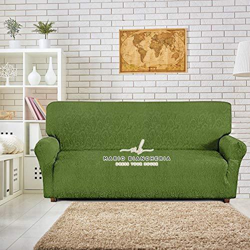 Petti, Artigiani Italiani Copridivano Elasticizzato, Tessuto Jacquard, Prodotto 100% Made in Italy, ideale per poltrone, divani a 2 posti, 3 posti e 4 posti (Verde, 3 Posti (170 a 210 cm))