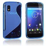 tinxi® Silikon Schutzhülle für LG Google Nexus 4 E960 Silicon Cover Etui mit S Linie in Blau