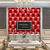 Quaan 3D Jahrgang Leder strukturiert Tapete PVC Wandgemälde Realistisch Aussehen Wasserdicht Schlafzimmer Dekor DIY Mauer Aufkleber Zuhause Küche Möbel Spiegel Windows Tür Gemälde (300cm x 40 cm, E)