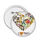 Frankreich I Love Paris Eiffelturm Arch of Triumph Herz Mime Croissant rund Pins Badge Button Kleidung Dekoration Geschenk 5X xl