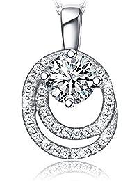 12a74ea18696f Collier Femme Pendentif Double Cercle Plaqué Platine en Argent 925, Zircon  Cubique de AAA,