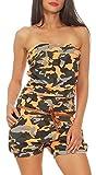Malito Damen Einteiler kurz in Unifarben | Overall mit Gürtel | schicker Jumpsuit | Romper - Playsuit - Hosenanzug 8964 (camo-orange)
