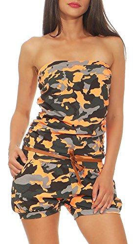 malito Damen Einteiler kurz in Unifarben | Overall mit Gürtel | schicker Jumpsuit | Romper - Playsuit - Hosenanzug 8964 (camo-orange) (Bequeme Baumwoll-strampler)