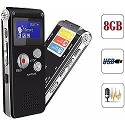 Grabadora de Voz ELEGIANT Digital Display OLED 8GB USB MP3 Reproductor Dictáfono para La Reunión, Memoria, Regalo con Micrófono Incorporado Función de Reducción de Ruido y Grabación Activada Negro