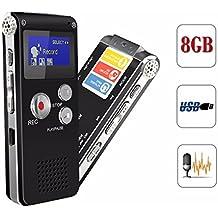 ELEGIANT 8GB USB Ricaricabili Registratore Vocale Dittafono Registratore Audio Digitale Lettore MP3 Stereo LCD Digitale Registratore Vocale per Incontro Nero