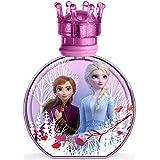 Frozen II Eau de toilette pour enfant dans un beau flacon en verre et bouchon couronne, avec Anna & Elsa (100 ml)
