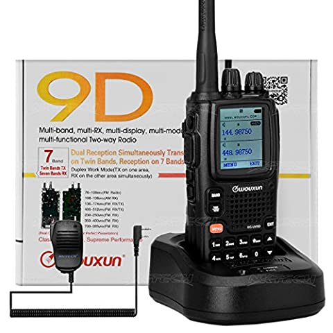 NKTECH WOUXUN KG-UV9D Dual Band TX 7-Band RX Tri-Power VHF 5W 2W 1W UHF 4W 2W 1W Cross-Band Repeater 999Channels Ham Transceiver Walkie Talkie (Black With NKTECH NK-S113