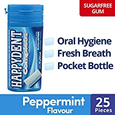 Happydent Complete, Sugarfree Chewing Gum, Peppermint Flavour, Pocket Bottle, 27.5g(25 Pieces)
