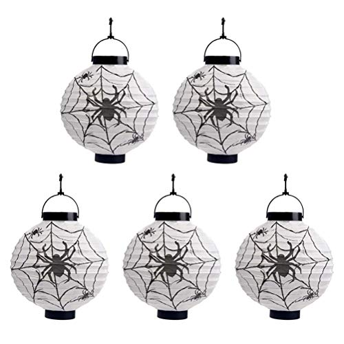 ween Papierlaternen LED Faltbare dekorative hängende Lichter Spider Papierlaterne für Haunted House Dekoration ()
