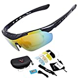 West Biking Unisex Polarized Sports Sunglasses with 5 Interchangeable Lenses for Cycling Climbing Fishing Skiing Outdoor Sports Glasses 4 Colors